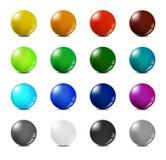 Color balls set. 16 glossy color balls set Royalty Free Stock Photo
