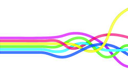 Color bands. Six parallel rainbow-colored ribbons starts neatly ordered on the left and mix up on the right of the screen Stock Photography