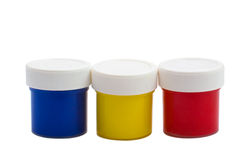 Color banks oil paint bottles Royalty Free Stock Image