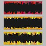 Color banner background design set - horizontal vector graphic from vertical stripes on black background. Color banner background design set - horizontal vector Stock Images