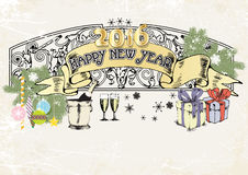 Color  banner happy new year 2016.vector illustration Stock Images