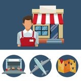 Color banner with salesman and facade store with awning and circular frame of icons storage logistics. Vector illustration Stock Image