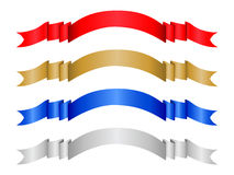 Color banner set 2. Four decorative color ribbon banner. Vector illustration (clipping path Stock Photos