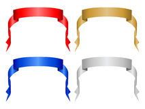 Color banner set 4. Four decorative color ribbon banner. Vector illustration (clipping path Royalty Free Stock Photos