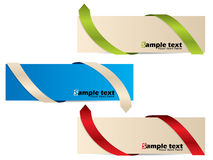 Color banner set with different bent ribbons. Color banner set with different bent ribbon arrows Royalty Free Stock Image