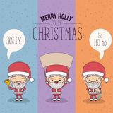 Color banner sparks merry holly jolly christmas of set full body cute caricature of santa claus with placard wooden an. Dialogue box vector illustration Stock Images