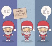 Color banner sparks merry holly jolly christmas of set full body different expression caricature of santa claus with. Placard wooden an dialogue box vector Stock Images