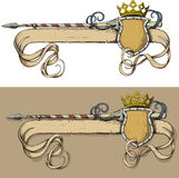 Color Banner spear and crown Royalty Free Stock Photos
