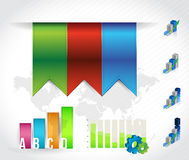 Color banners infographic chart. design graphics Stock Images