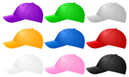 Color baseball caps Stock Image