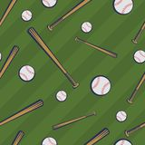 Color baseball seamless pattern with baseball bats and baseball balls on green field background vector illustration