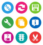 Color basic interface icons Royalty Free Stock Image