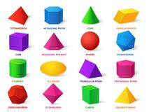 Free Color Basic Shapes. Realistic 3d Geometric Forms Cube And Ellipsoid, Cylinder And Sphere, Cone And Pyramid, Learning Stock Photos - 187151413