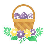 Color basket with Easter eggs and flowers on a white background. Color basket with Easter eggs. Vector illustration Royalty Free Stock Image