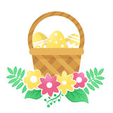 Color basket with Easter eggs and flowers on a white background. Color basket with Easter eggs. Vector illustration Stock Photo