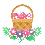 Color basket with Easter eggs and flowers on a white background. Color basket with Easter eggs. Vector illustration Stock Photos