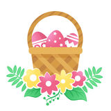 Color basket with Easter eggs and flowers on a white background. Color basket with Easter eggs. Vector illustration royalty free illustration
