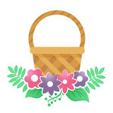 Color basket with flowers on a white background. Color basket with flowers on a white background Stock Photos