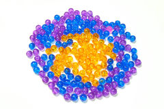 Color beads on white background Stock Photo