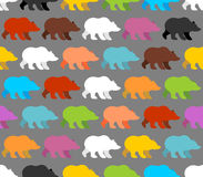 Color bears seamless pattern. Background of  lovely bears. Stock Photography
