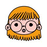 Color beauty girl head with glasses and hairstyle. Vector illustration vector illustration