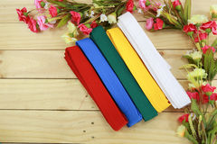Color belt of martial art on wood floor Royalty Free Stock Photos