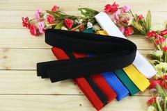 Color belt of martial art on wood floor Stock Images