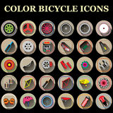 Color bicycle part icons Royalty Free Stock Image