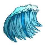 Color Big Foamy Tropical Sea Marine Wave Storm Vector. Big Foamy Tropical Sea Marine Wave Storm Vector. Giant Water Wave Caused By Strong Wind Seascape Element vector illustration
