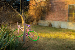 colorful new bike in front of old house Stock Image
