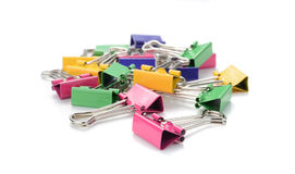 Color binder clips. Illustration on white background for design. Color binder clips. Illustration on white background royalty free stock photos
