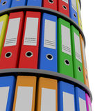 Color binder folders in shelf. Royalty Free Stock Image