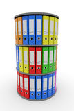 Color binder folders in shelf. Royalty Free Stock Images