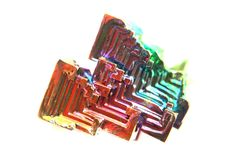 Color bismuth crystal isolated Stock Photos