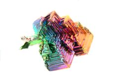Color bismuth crystal isolated Royalty Free Stock Images