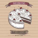 Color black forest cake sketch placed on cardboard background. Royalty Free Stock Photos