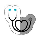 color black sticker stethoscope with heart icon Royalty Free Stock Images