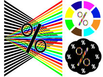 Color or black and white percentage. For sales in three versions Stock Photos