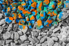 Color and black an white stones Royalty Free Stock Photo