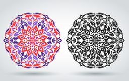Decorative floral pattern. Mandala. Eastern, Indian, Turkish, Islamic ornament. Template for decorating textiles, banners, posters stock illustration