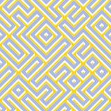 Color blanco amarillo azul inconsútil Maze Pattern geométrico de la trama Foto de archivo libre de regalías