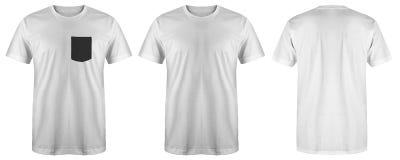 Color blanco de la camiseta del espacio en blanco aislado en el fondo blanco, listo para la mofa encima de la plantilla fotografía de archivo