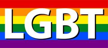 Color blanco lesbiano, homosexual, bisexual y del transexual de LGBT del texto en bandera del arco iris ilustración del vector