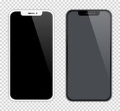 Color blanco y negro de las maquetas realistas de los smartphones Ejemplo común del vector para imprimir la publicidad, elemento  libre illustration