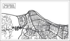 Color blanco y negro del iin de Denis Reunion City Map del santo Ejemplo blanco y negro del vector