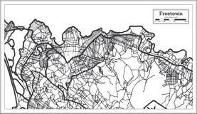 Color blanco y negro del iin de Freetown Sierra Leone City Map Ejemplo blanco y negro del vector
