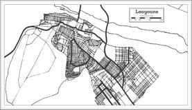 Color blanco y negro del iin de Laayoune Sahara City Map Ejemplo blanco y negro del vector