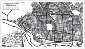 Color blanco y negro del iin de N 'Djamena Chad City Map Ejemplo blanco y negro del vector