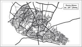 Color blanco y negro del iin de Oporto Novo Benin City Map Ejemplo blanco y negro del vector