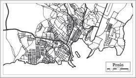 Color blanco y negro del iin del mapa de la ciudad de Cabo Verde del Praia Ejemplo blanco y negro del vector